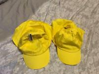 2 brand new yellow sun hats with neck shade. One size kids