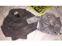 Grey suede leather jacket from river island size 6