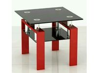 Black Glass / Red Lack Coffee Table