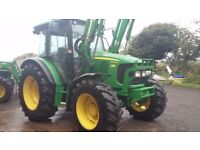 CLEAN TIDY JOHN DEERE 5100R WITH A JD 583 LOADER , 4721 HRS GOOD TYRES ALL ROUND