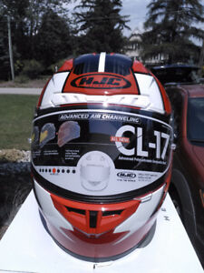 HJC STRIKER CL17 MC1 NEW RED & WHITE HELMET WITH ANTI FOG LENS