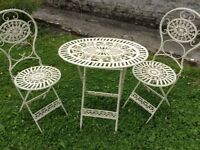 Cream metal folding table and 2 chairs shabby chic