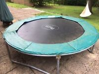 8ft Plum Trampoline no safety net with green padded surround and ladder. Used but in fine condition