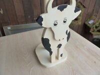 Wooden Cow Kitchen Roll Holder Delivery Available £3
