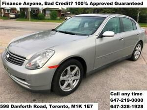 2003 INFINITI G35 Sedan Luxury FINANCE  100% APPROVED WARRANTY