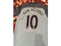 SIGNED kun aguero Manchester City shirt