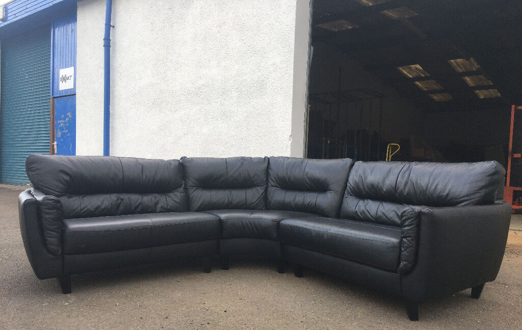 Sofology Black Leather Corner Sofa DELIVERY AVAILABLE