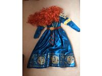 Disney Brave dress with wig and Tiara. Age 7-8