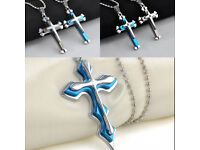 Men-Jewelry-Chain-Stainless-Steel - New - Necklace-Cool-Cross-Unisex