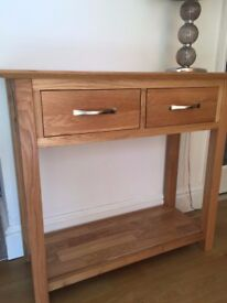 Solid Oak Console Table With 2 Drawers