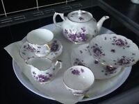Aynsley violet vintage teapot,cup,saucer & 2 tea plates,sugar & creamer