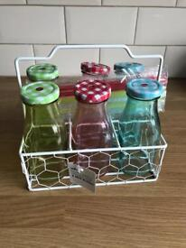 Set Of Six Glass Milk Bottles