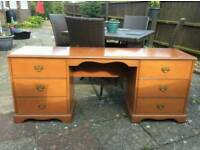 Stag dressing table/desk including triple mirrors