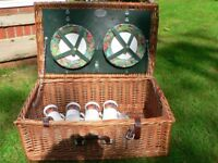TRADITIONAL WICKER PICNIC BASKET/ HAMPER WITH LID FROM JOHN LEWIS