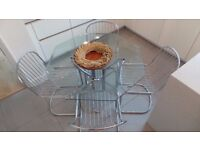 SET OF 4 VINTAGE RETRO BAUGHMAN STYLE CHROME CHAIRS AND TABLE MADE IN ITALY