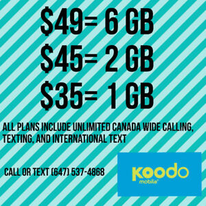 Cheap Koodo Plans $49 6 GB