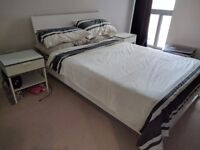 Ikea Trysil white double bed frame and mattress for sale