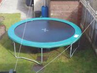 Garden Trampoline 10 ft diameter jumping /bouncing pad, 12ft diameter includin surround.