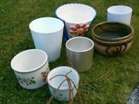 7 x ceramic planters