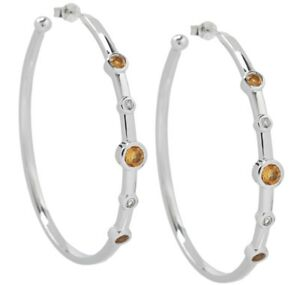 Eva LaRue Citrine Sterling Silver Hoop Earrings