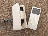 Ipod Nano 2nd Generation (2GB) with white leather case