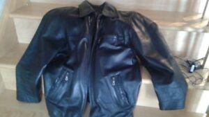 Manteau cuir noir doublé