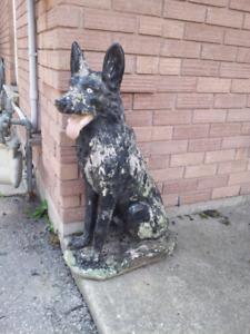 Cement dog statue
