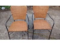 2 WICKER / RATTERN STYLE BISTRO CHAIRS