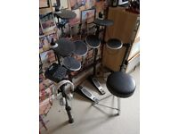 Electronic drum kit, stool, amp and headphones