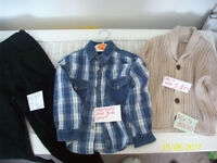 CHILDRENS CLOTHES, NEXT JEANS,LADYBIRD SHIRT,M&S COTTON CARDIGAN AGE 3-4 YEARS