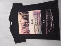 River Island black t-shirt with L.A Miami N.Y detail size M