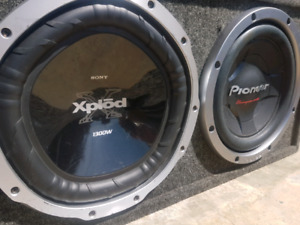 "Two 12"" subwoofers with amps"