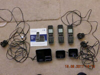 THREE CORDLESS TELEPHONES c/w BASE STATION WITH BUILT IN ANSWERPHONE, CHARGERS AND USER GUIDE