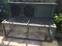 Rabbit Hutch & Run (4 x 6 ft) & Large Connecting Run (6 x 10 ft) - Used Condition