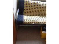FREE Furniture, four black leather dining chairs, double silver metal futon bed and mattress.