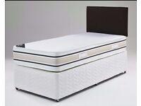 Strong 3FT Divan Base in Black, White & Cream❤❤ Single Bed w Mattress, Headboard &Drawers Optional