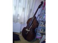 3/4 Double Bass with case, bow & stand.