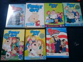 Family Guy series 1/2/3/5/8 American Dad series 1 and 6