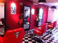 3 barber chairs red