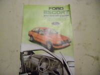 Ford escort Mk. 3 - Operating guide. Inc. Fuel injected models.