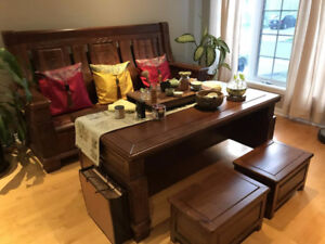Wooden Sofa and Wooden Table