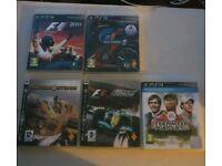Five PS3 games 4 x racing 1x golf
