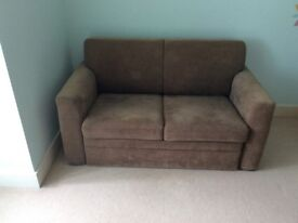 Pull out 2 seater sofa bed grey with storage drawer for bedding