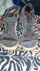 roberto vianni brown leather wedge sandle NEW