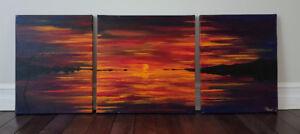 Original handmade acrylic painting - sunset