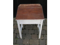 child wooden school desk, with storage, and chair