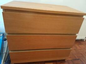 Ikea Malm 3 drawer chest Oak