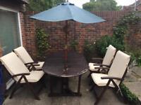 Wooden garden table & chair set plus parasol