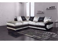 BRAND NEW DINO CRUSHED VELVET CORNER SOFA AVAILABLE CORNER AND 3+2 SUITE