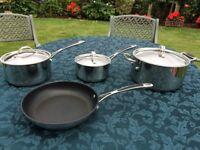 Set of Habitat saucepans and frying pan